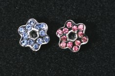 Blingbling Blomma blå strass 10-pack (13 mm)