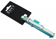 Halsband Envy Tiffany Vit/Turkos (10mm/20-30cm)