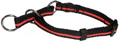 Halsband nylon 2 in 1 ställbart Small Svart/Orange Education Coneckt (15mm/28-36cm)